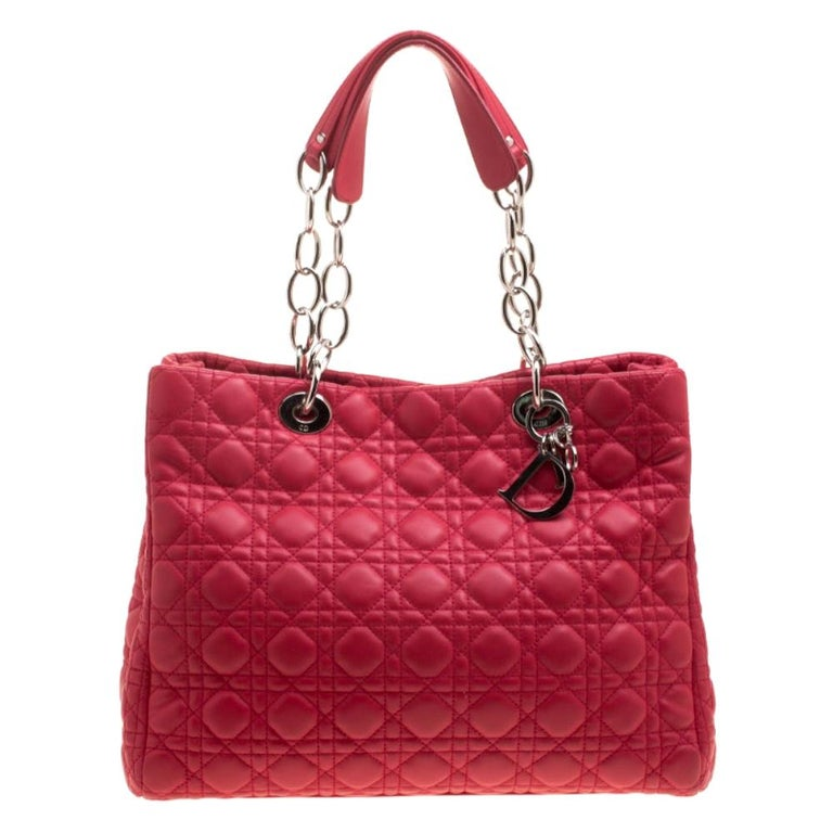Dior Red Cannage Soft Leather Large Shopping Tote For Sale