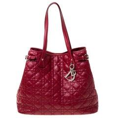 Dior Red Coated Canvas Medium Panarea Shopper Tote
