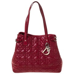 Dior Red Coated Canvas Small Panarea Tote