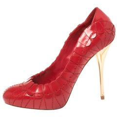 Dior Red Embroidered Leather Platform Pumps Size 38