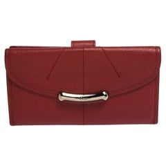 Dior Red Leather Continental Wallet