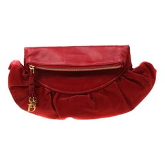 Dior Red Leather Gipsy Fold Over Clutch