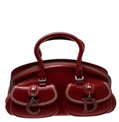 Dior Red Leather Medium Detective Satchel
