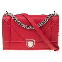 Dior Red Leather Medium Diorama Shoulder Bag