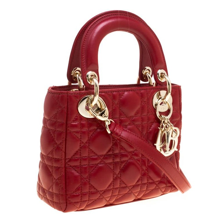 99ca30e2839 Dior Red Leather Mini Lady Dior Top Handle Bag For Sale 7