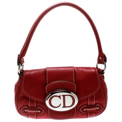 Dior Red Leather Shoulder Bag