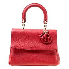 Dior Red Leather Small Be Dior Flap Top Handle Bag