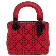 Dior Red Matte Studded Leather Mini Lady Dior Tote