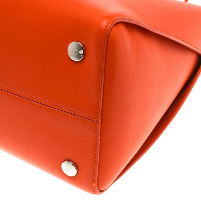 Dior Red Orange Leather Dior Addict Shopping Tote For Sale 6