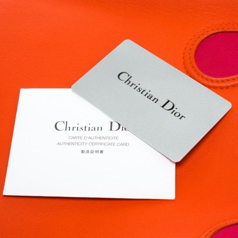 Dior Red Orange Leather Dior Addict Shopping Tote For Sale 7
