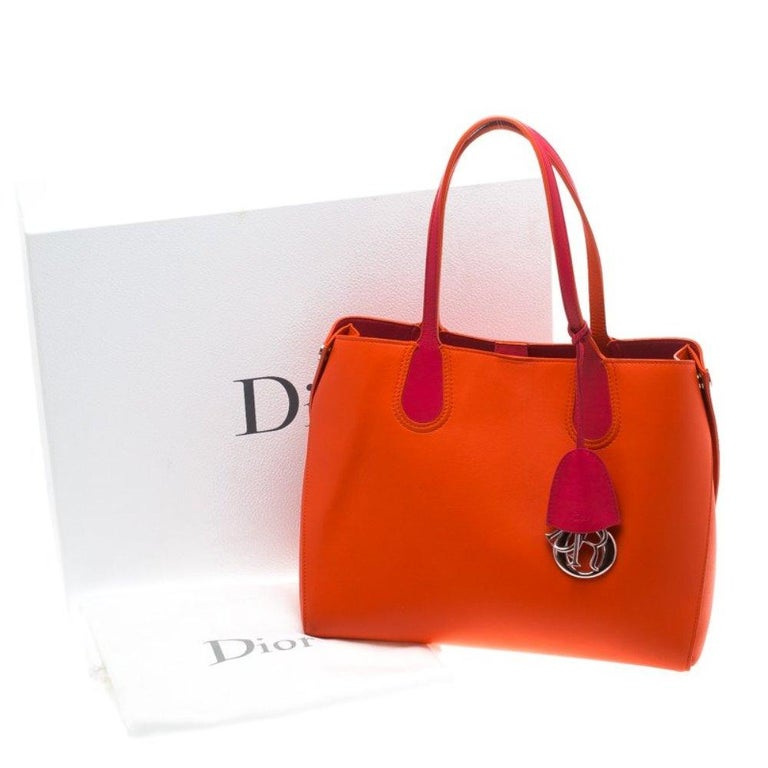 Dior Red Orange Leather Dior Addict Shopping Tote For Sale 8