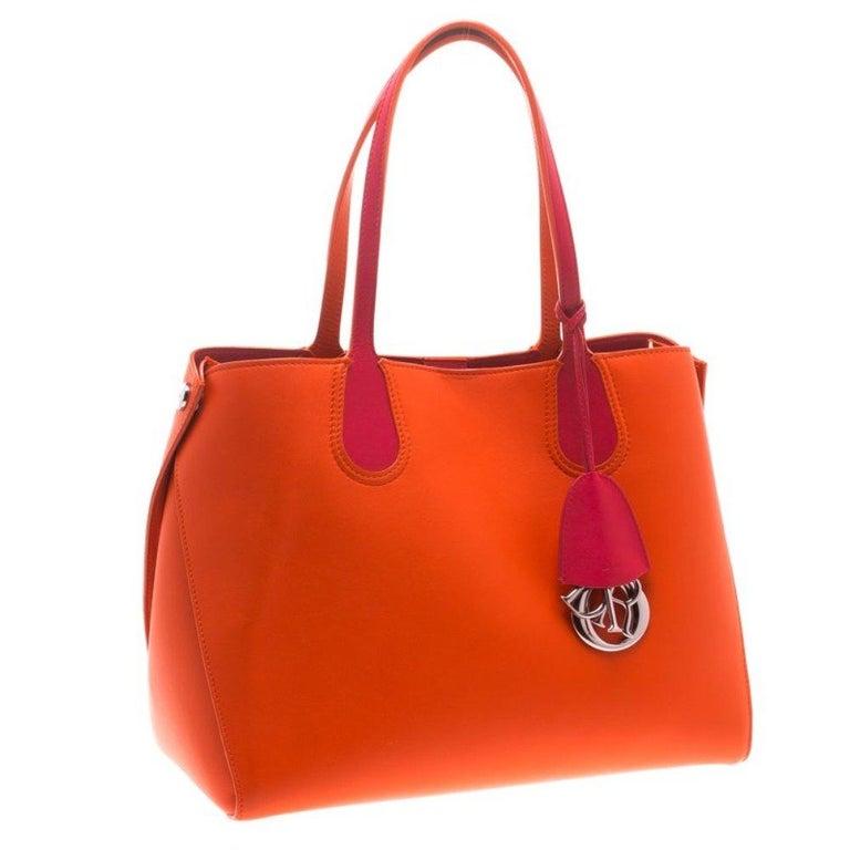 Women's Dior Red Orange Leather Dior Addict Shopping Tote For Sale