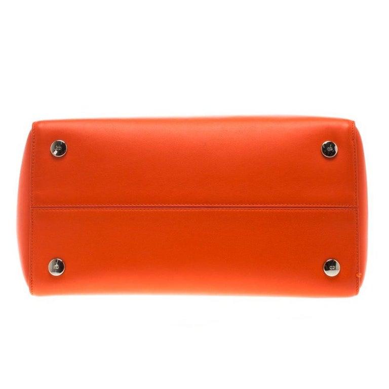 Dior Red Orange Leather Dior Addict Shopping Tote For Sale 1