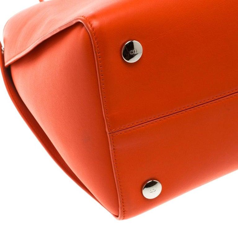 Dior Red Orange Leather Dior Addict Shopping Tote For Sale 5