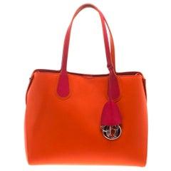 Dior Red Orange Leather Dior Addict Shopping Tote