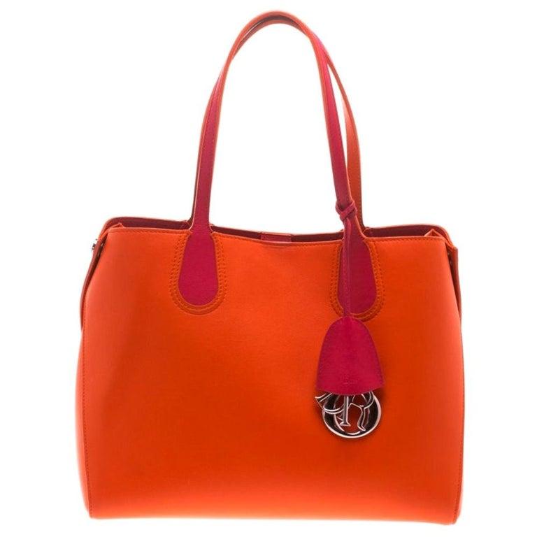 Dior Red Orange Leather Dior Addict Shopping Tote For Sale