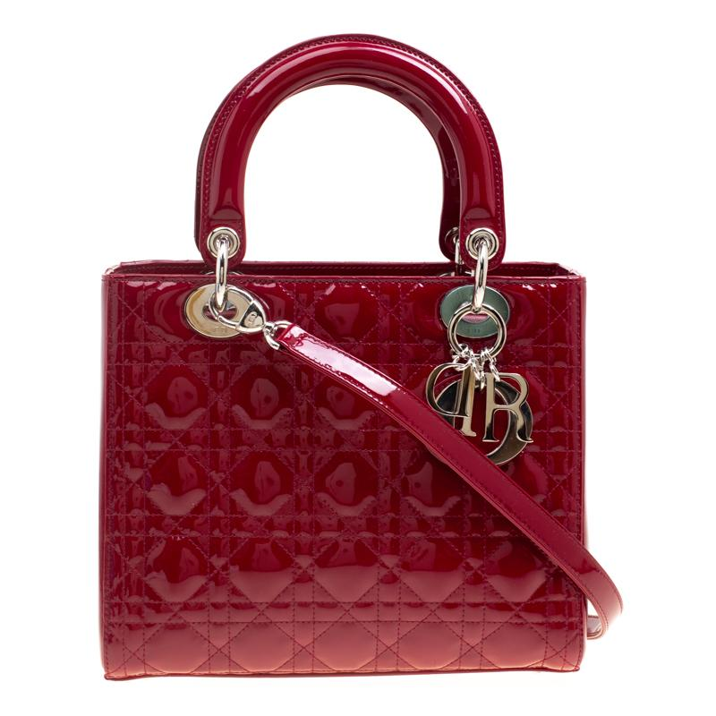 Dior red patent leather medium lady dior tote for sale at stdibs jpg  768x768 Dior tote 6fae757538de9