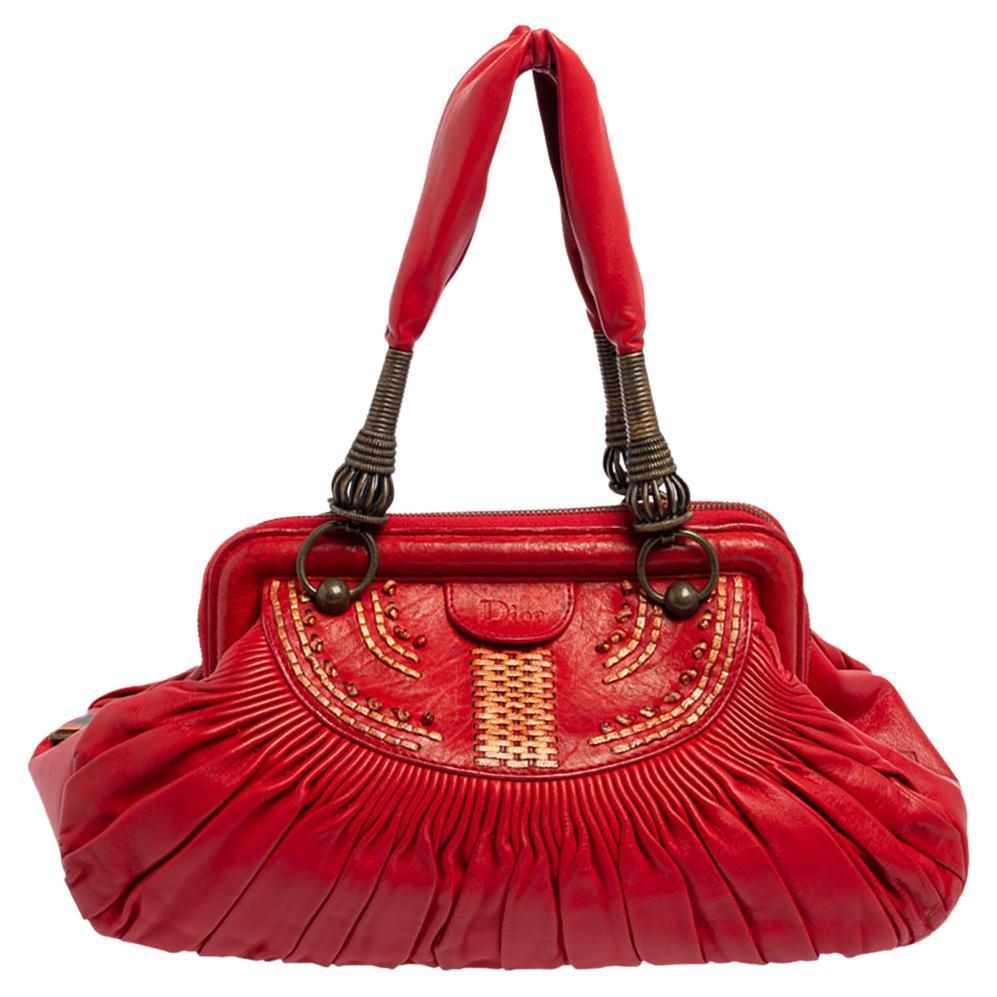 Dior Red Pleated Leather Plissé Satchel