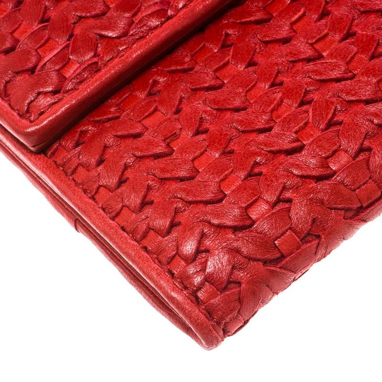 Dior Red Woven Leather Clutch 6