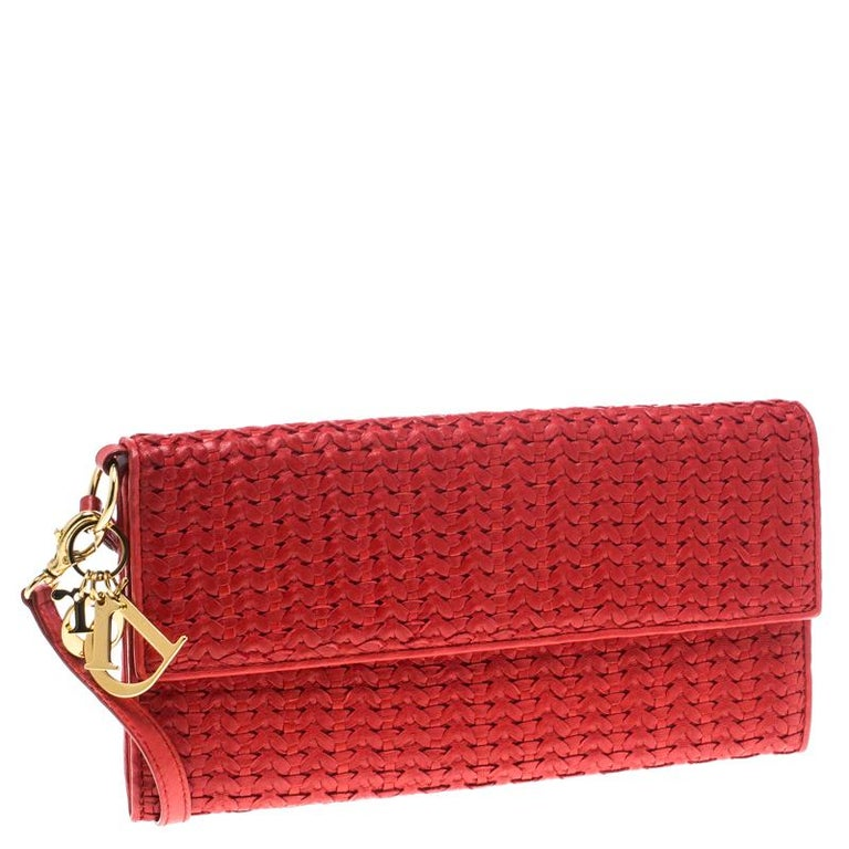 Women's Dior Red Woven Leather Clutch
