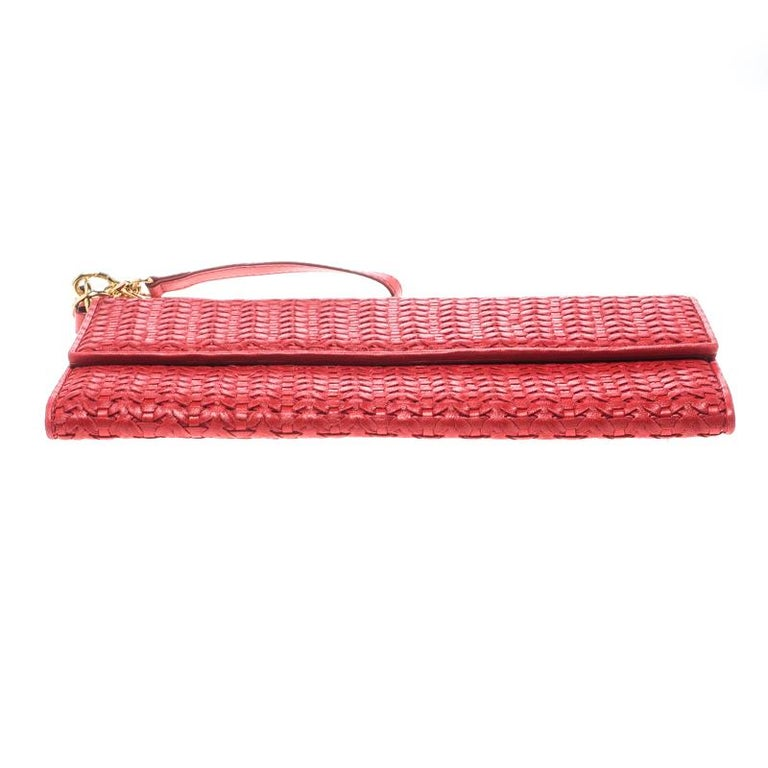 Dior Red Woven Leather Clutch 1