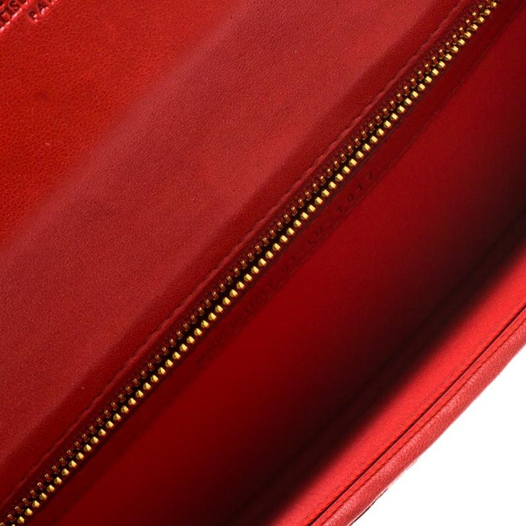 Dior Red Woven Leather Clutch 3