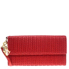 Dior Red Woven Leather Clutch