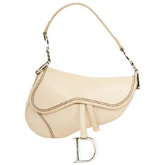 Dior Saddle Bag Beige and Silver