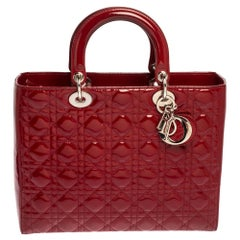 Dior Scarlet Red Cannage Patent Leather Large Lady Dior Tote