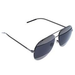 Dior Silver/Black Diorsplit1 Aviator Sunglasses