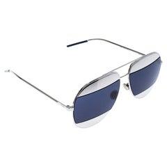 Dior Silver/Blue Diorsplit1 Aviator Sunglasses
