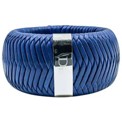Dior Silver & Blue Jumbo Leather Weave Logo Bangle 2000s
