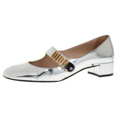 Dior Silver Laminated Leather Baby-D Mary Jane Pumps Size 40.5