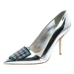 Dior Silver Leather and Sequin Pointed Toe Pumps Size 37