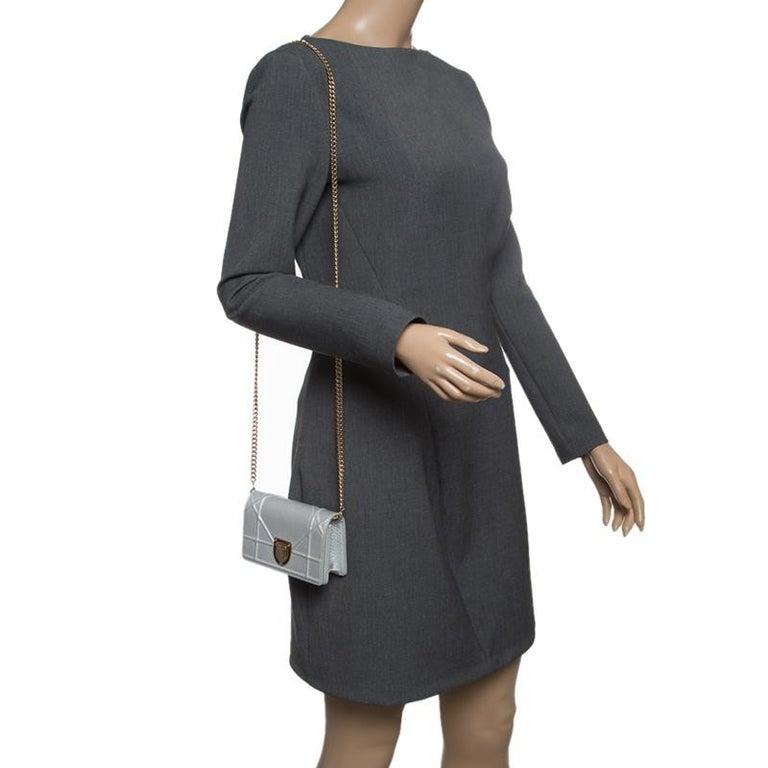 95e71c6f4e Dior Silver Leather Micro Baby Diorama Bag In Good Condition For Sale In  Dubai, Al