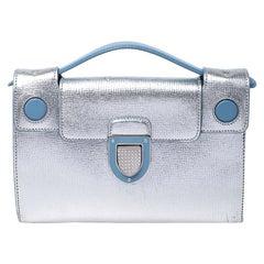 Dior Silver/Light Blue Leather Diorever Squad Shoulder Bag