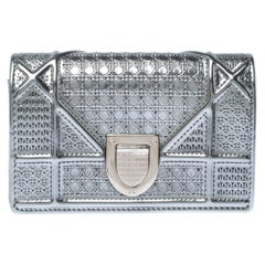 Dior Silver Micro Cannage Patent Leather Baby Diorama Shoulder Bag