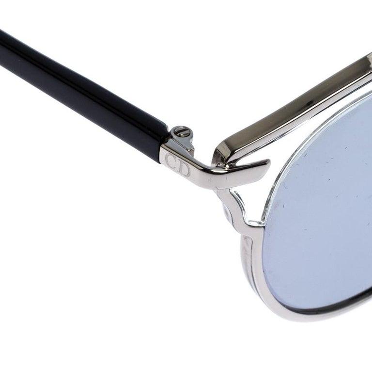 Dior Silver Mirror Dior So Real Round Sunglasses For Sale 1
