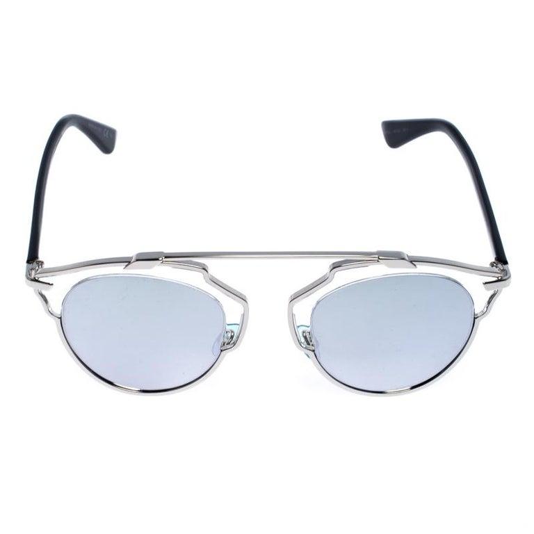 Dior Silver Mirror Dior So Real Round Sunglasses For Sale 2