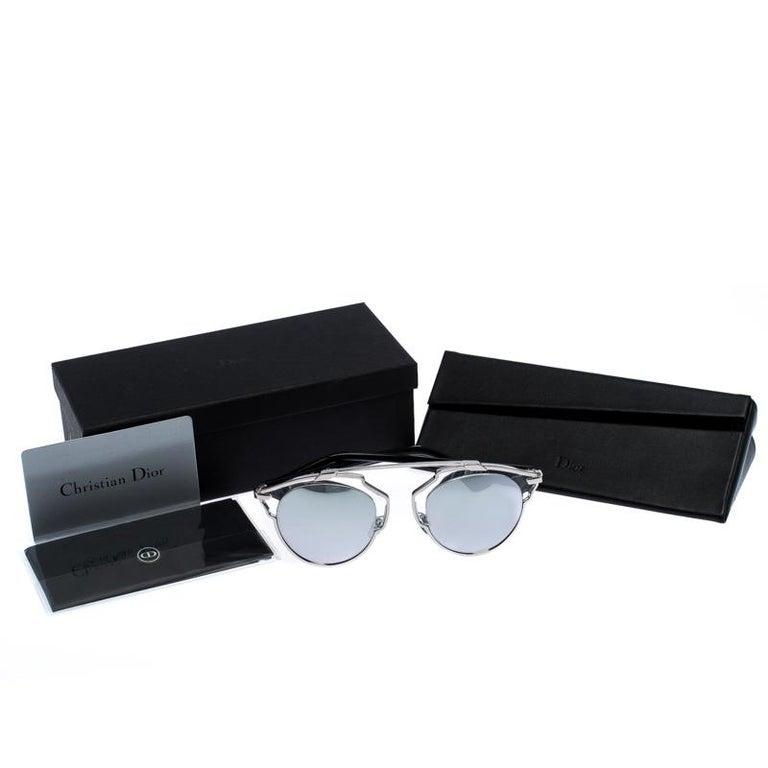 Dior Silver Mirror Dior So Real Round Sunglasses For Sale 3