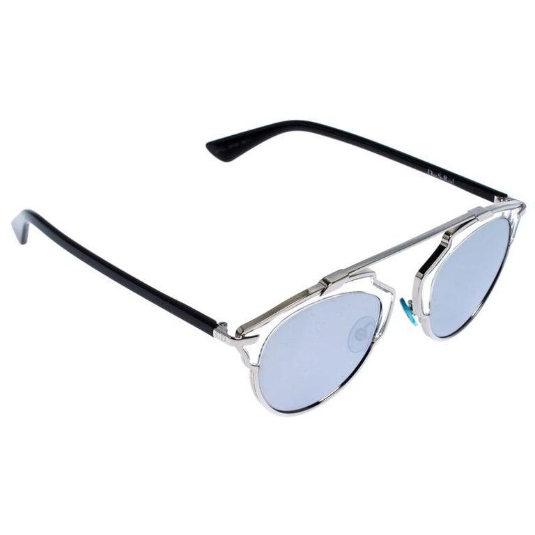 Dior Silver Mirror Dior So Real Round Sunglasses For Sale