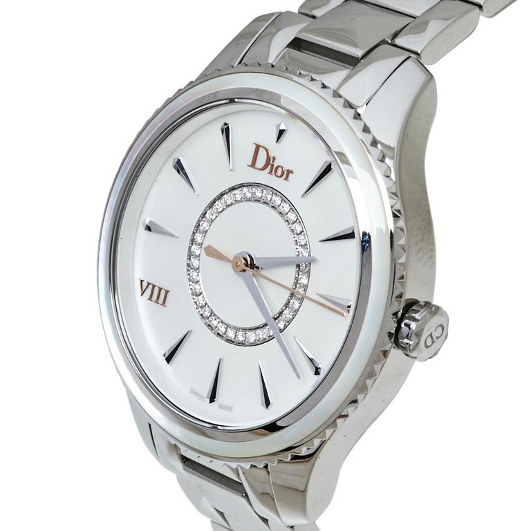 Dior Silver Mother of Pearl Stainless Steel CD152110 Women's Wristwatch 32MM For Sale 2