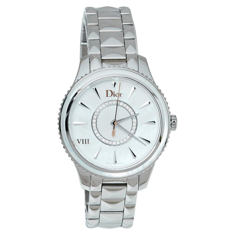 Dior Silver Mother of Pearl Stainless Steel CD152110 Women's Wristwatch 32MM For Sale