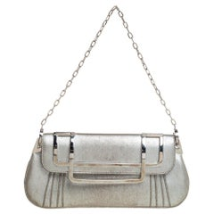 Dior Silver Nubuck Leather Frame Chain Clutch