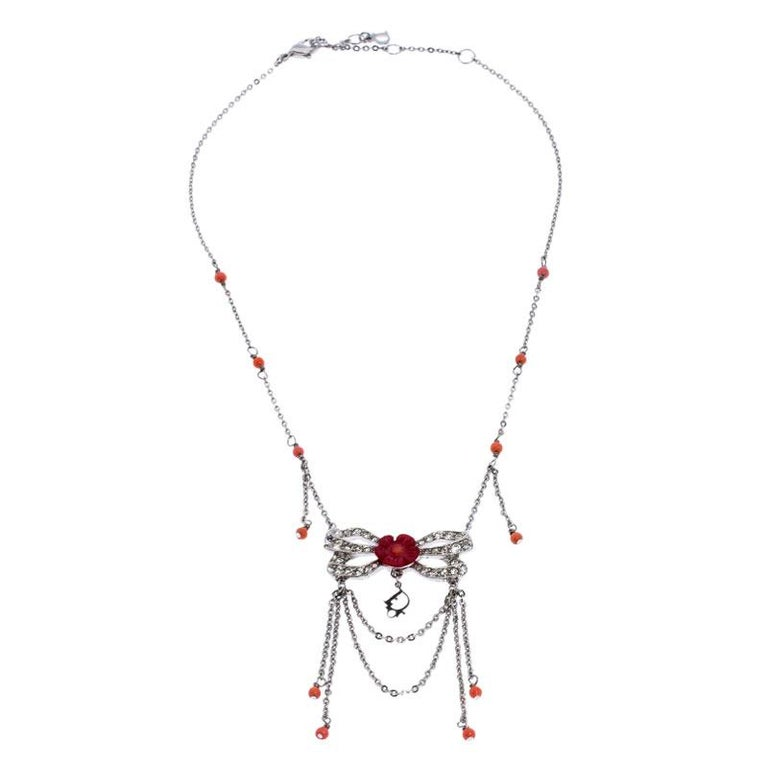 Contemporary Dior Silver Tone Crystal Embellished Layered Floral Bow Necklace For Sale