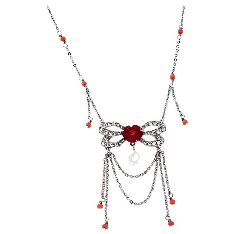 Dior Silver Tone Crystal Embellished Layered Floral Bow Necklace For Sale