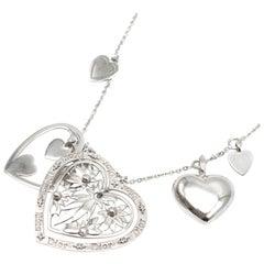Dior Silver Tone Multi-Heart Charm Necklace