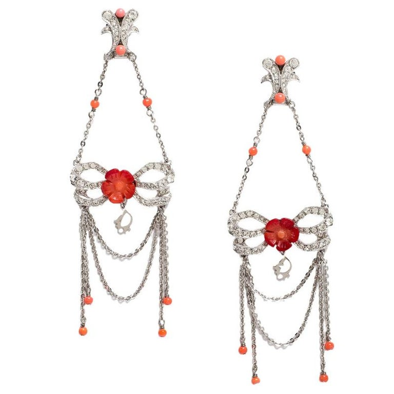 Contemporary Dior Silver Tone/Red Crystal Embellished Butterfly Drop Earrings