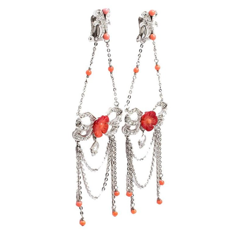 Dior Silver Tone/Red Crystal Embellished Butterfly Drop Earrings In Excellent Condition In Dubai, Al Qouz 2
