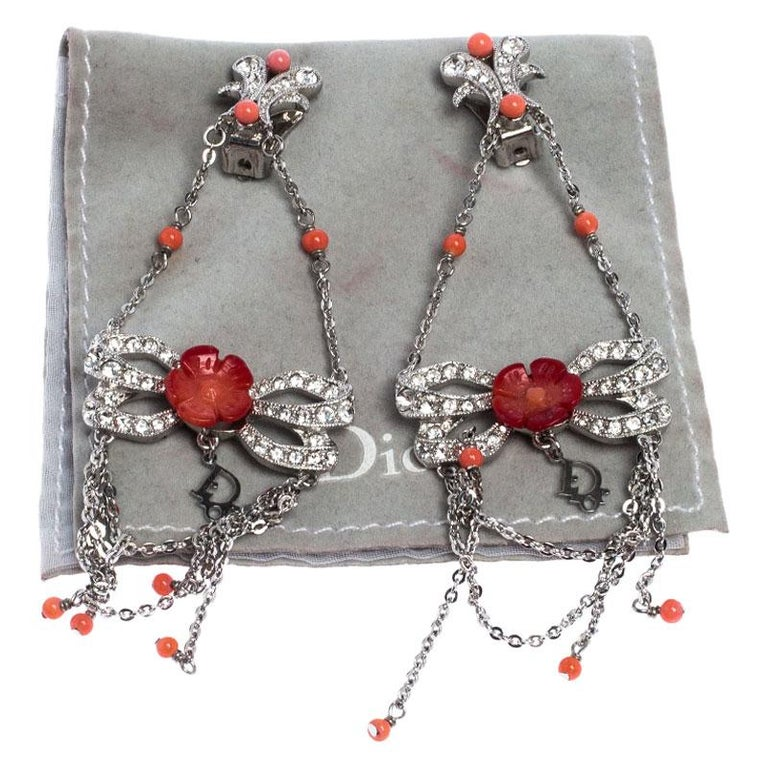 Dior Silver Tone/Red Crystal Embellished Butterfly Drop Earrings 1